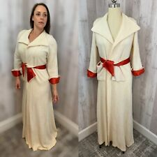 1940s Vintage Robe/Dressing Gown Wool Fleeced Hollywood Red Satin Trim S/M