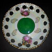 VINTAGE RETICULATED Porcelain Gold Trim Saucer ONLY UNMARKED PINK & GREEN DESIGN