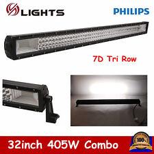 32inch 405W 7D Tri Row LED Light Bar Combo Truck 4WD UTE Off-road Lamp PK 180W