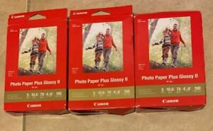 """LOT 3 Genuine Canon Photo Paper Plus Glossy II PP-301 Box 100 Sheets 4"""" X 6"""" NEW"""