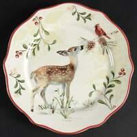Better Homes & Gardens WINTER FOREST Deer Cardinal Salad Plate 10276782