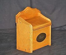 Vintage Style Wooden Recipe Box Card Holder w Metal Label Kitchen Counter Decor