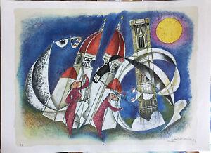 Bonciani Adorno litografia Concerto in Piazza dei Miracoli  50x70 firmata