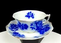 "WH GRINDLEY FLOW BLUE PORCELAIN GIRONDE PATTERN GOLD DAUBS 2"" CUP & SAUCER 1900-"