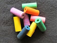 """25 Pak 1 1/2"""" Colored Wood Tube Beads Parrot Bird Craft Toy Parts"""
