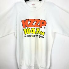 Vintage KZZP 104.7 FM Radio Station White Neon Sweatshirt Size XL