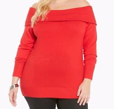 Torrid Foldover Collar Sweater Red 2X 18 20 2 #27168