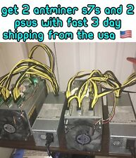 2x Bitmain Antminer S7s Used 4.73 TH/s Bitcoin ASIC Miner W/ 2x PSU 🇺🇸 SELLER