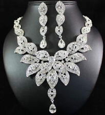 Floral Austrian Rhinestone Crystal Bib Necklace Earrings Set Wedding Prom N21c