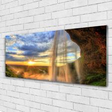 Glasbilder Wandbild Druck auf Glas 125x50 Wasserfall Landschaft