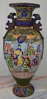 "Antique c. Meiji Japanese Moriage Satsuma Detail Handpainted Vase,25"" Tall"
