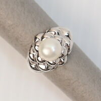 Size 10 Eastern Arts Metallic White Freshwater Pearl Sterling Silver Ring 10g