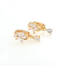 Women shinning Flower White Cubic Zirconia CZ Hoop Drop Earrings Jewelry Gift