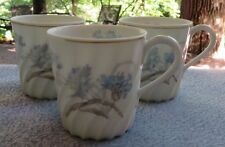 THREE Haviland Limoges Bergere Demitasse Cups Blue Cornflowers