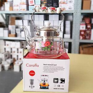 Heat Resistance Filter Tea Kettle Pot Stovetop Flameware Glasses Teapot Infuser