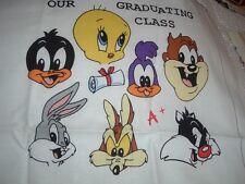 Vtg 90s Baby Class Looney Tunes Bugs Tweedy Daffy Taz Year Book Fabric Panel#pb4