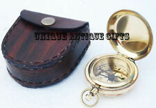 Vintage Brass compass push button compass pocket compass with leather case Gift