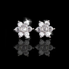 Pretty Sparkly Ladies/Girls 925 Sterling Silver Plated Crystal Stud Earrings UK