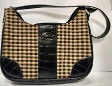 LONGABERGER Small Purse Handbag Black, Tan, Khaki Plaid Leather like croc Trim