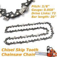 "20"" Bar Skip Tooth Chisel Chain 3/8'' .058 Gauge 72 DL for Husqvarna 50cm  Hot"