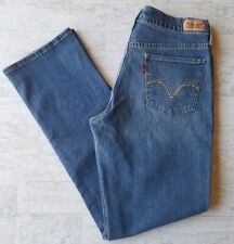Levis Womens 505 Straight Leg Blue Jeans Mid Rise Faded Whisker Size 8 M