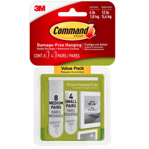 1 Pack 3M Command Picture Hanging Strips 8 Medium 4 Small Pairs (Total 12 Pairs)