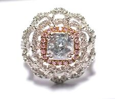 2.28ct Natural Fancy Blue & Argyle 6PP Pink Diamonds Engagement Ring GIA 18K SI2