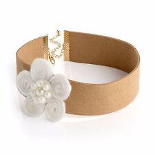 Cream Flower Light Brown Choker Necklace