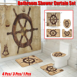 4Pcs/Set Waterproof Soft Mat Toilet Cover Rug Shower Curtain Bathroom Decor #!