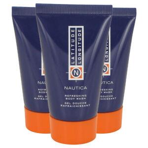 3 - NAUTICA Latitude Longitude REFRESHING BODY WASH Shower Bath Gel TRAVEL 1 oz