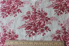 """French Antique BlockPrinted Pink Rose Cotton Chintz Fabric Panel c1860-70~2yd2""""L"""