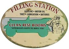 Filling Station Clean Rest Rooms Embossed OVAL TIN SIGN Metal Poster Wall Decor