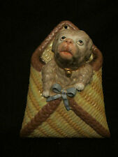 More details for fantastic continental rare antique puppy  dog wall pocket great condition