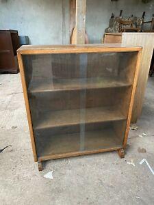 Vintage Antique Brown Wooden Glass Fronted Display Cabinet Bookcase Sliding Door