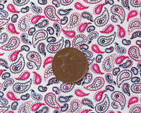 CERISE, BLACK & BLUE ON WHITE SMALL PAISLEY PATTERN 100% COTTON FABRIC FQ'S