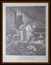 vecchia litografia da antica incisioni Gustave Dorè Dante Divina Commedia Infern