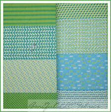 BonEful Fabric FQ Cotton Quilt Green White Aqua Stripe Dot Pattern Print Block L