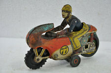 Vintage Friction No.77 Litho Sports Racing Motorcycle Tin Toy , Collectible