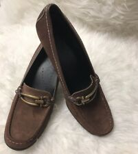 FRANCO SARTO Womens 10 Chocolate Brown Suede Clip Band Kitten Heels Loafer Shoe