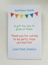 5 Personalised Sunflower Seeds Children's Party Bag Gift Treat Kids Birthday