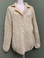 Aran Craft Merino Wool Button Front Sweater Cardigan - Natural - Medium