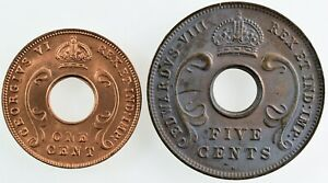 EAST AFRICA: British Colony 1942 1 Cent and 1936 H 5 Cents. UNC.