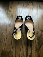 Cole Haan Black Patent Leather NikeAir Pumps High Heels Womens Shoes Sz 9.5 M