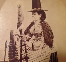 Stunning Stereoview Woman Strange Unique Hat Spinning Wheel Treadwell Collection