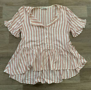 Madewell Button Up Striped Ruffle Shirt Size Medium High Low Dressy Top