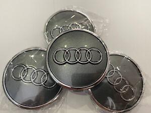 Audi 4x 61mm 4M0601170 Nabenkappen Silber Chrom, Hellgrau 60mm Radzierkappe