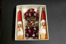 Vintage Santa Tapers Christmas Candles And Holders Set With Matches japan