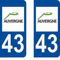Département 43 sticker 2 autocollants style immatriculation AUTO PLAQUE