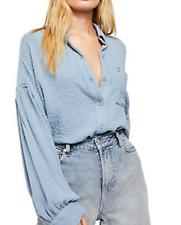 Free People Hidden Valley Button down Solid Top Rainfall Blue Small Ob1013618