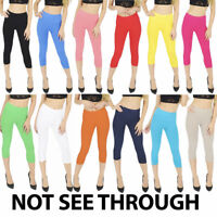 NEW Womens Ladies Cropped 3/4 Leggings Active Capri Length Slim Pants Trousers
